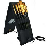 Paint Brush Set - 7 Artist Brushes for Acrylic, Oil, Watercolour, Gouache and Plein Air Painting - Short Handle - Professional Travel Holder - 1 Year Warranty - Art Supplies by MyArtscape™