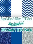 ROYAL BLUE & WHITE HTV SPECIAL PACK #1 Chevron Pattern, Polka Dot, Colour and Glitterflex HTV for T-Shirts!