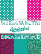 TURQUOISE & PINK POLKA DOTS HTV SPECIAL PACK #1 Pattern, Colour and Glitterflex HTV for T-Shirts!