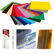 GreenStar 30cm x 30cm (20 PACK) Self Adhesive Craft Vinyl Plus Transfer Tape, Squeegee, Weeding Tool