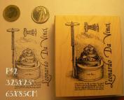 P92 Leonardo da Vinci Steampunk rubber stamp