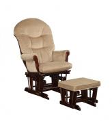 Shermag Combo Glider Chair and Ottoman, Dark Walnut Coffee
