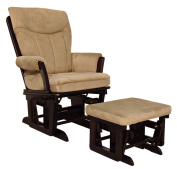 Shermag Combo Glider Chair and Ottoman, Espresso Pebble