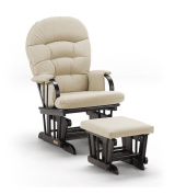 Shermag Combo, Espresso Slam Dunk Glider Chair and Ottoman Beige