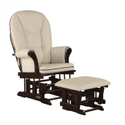 Shermag Combo Glider Chair and Ottoman, White/Beige