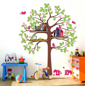 Pop Decors PT-0192-Vc Beautiful Wall Decal, Shelving Tree with Squirrels