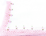 Knitted Crochet Finished White Cotton Pink Trim Blanket Trimmed Pink Rosebuds