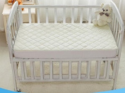 "Crib Mattress Protector by tinyfeet -Fitted, Waterproof, Soft, Quilted, Size -130cm x 70cm x 9"" - High Absorbency, Stain Resistant and Allergy Proof."