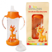 Top Rated - GoGlass Borosilicate 300ml Glass Baby Bottle (orange) BPA Free With Included Nipple and Sippy Cup Spout - Best Feeding Bottles For Preemie, Newborns, Infants, and Toddlers Shower Gifts