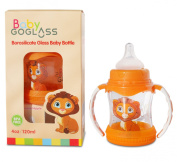 #1 Top Rated GoGlass Borosilicate Glass Baby Bottle 120ml BPA Free With Extra Nipple Included Free (Orange) - Best Feeding Bottles For Preemie, Newborns, Infants, and Toddlers Shower Gifts
