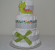Caterpillar 3 Tier Nappy Cake - Baby Shower Centrepiece/ New Baby Gift/ Welcome Baby Gift