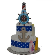 Nautical Theme Baby Boy Nappy Cake (2 Tier) - Baby Shower Centrepiece/ New Baby Gift/ Welcome Baby Gift