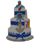 Nautical Theme Baby Boy Nappy Cake (3 Tier) Large - Baby Shower Centrepiece/ New Baby Gift/ Welcome Baby Gift