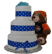 Blue Harley Davidson Baby Boy Nappy Cake (3 Tier) Large - Baby Shower Centrepiece/ New Baby Gift/ Welcome Baby Gift