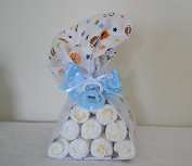 Blue Nappy Stork with a Pacifier - Blue/ Pink/ Yellow/ Green / Mixed Availabe