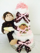 Pink Monkey Baby Girl Nappy Cake (3 Tier) - Baby Shower Centrepiece/ New Baby Gift/ Welcome Baby Gift