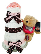 Pink Harley Davidson Baby Girl Nappy Cake (3 Tier) - Baby Shower Centrepiece/ New Baby Gift/ Welcome Baby Gift