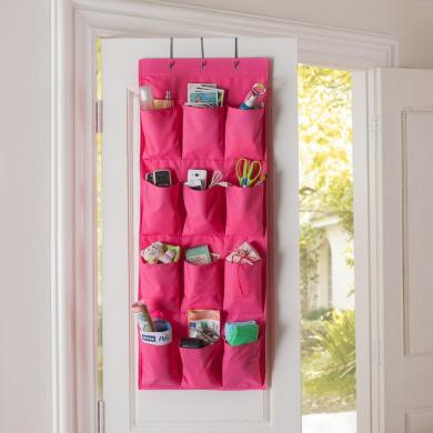 Tune Up 12 Pocket Hanging Door Holder Storage Organiser Closet Shoe Hanger Organiser Box (Hot Pink)