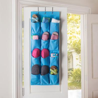 Tune Up 12 Pocket Hanging Door Holder Storage Organiser Closet Shoe Hanger Organiser Box (Blue)
