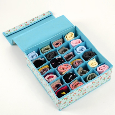 Tune Up Dust-Proof Drawer Dividers Closet Organisers Underpants Scarf Towels Underwear Storage Boxes with cover (Blue)