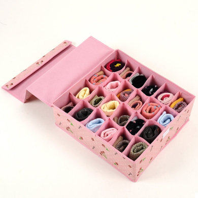 Tune Up Dust-Proof Drawer Dividers Closet Organisers Underpants Scarf Towels Underwear Storage Boxes with cover (Pink)