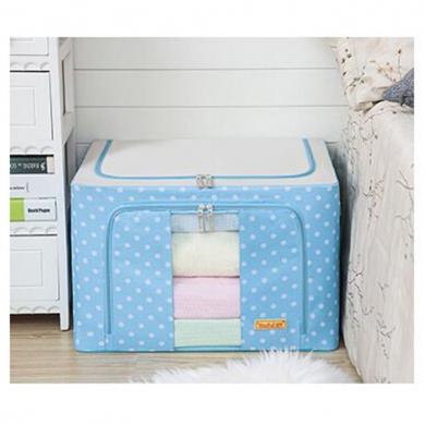 Tune Up Durable Oxford Fabric Foldable Steel Shelf Lidded Storage Box with See-through Window 66L (Blue)