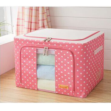 Tune Up Durable Oxford Fabric Foldable Steel Shelf Lidded Storage Box with See-through Window 66L (Pink)