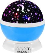 Night Lighting Lamp Baby Nursery Kids Room Rotating Stars Projector Led - Blue