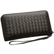 Qidell Female and Male Genuine Leather Wallet Sheepskin Long Woven High-capacity Zipper Clutch Purse