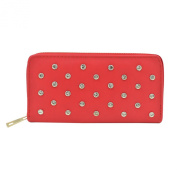 Women's Crystal Rhinestone Studded PU Leather Zip Around Wallet - Diff Colours