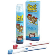 Just Right 6 Month Anticavity Kit - Berry Blast 100ml bottle w/2 childrens toothbrushes, Case of 24