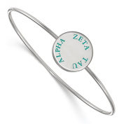925 Sterling Silver Rhodium-plated Sorority Zeta Tau Alpha Enamelled Slip-on Bangle Bracelet 18cm