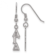 925 Sterling Silver Rhodium-plated Alpha Gamma Delta Sorority Small Dangle French Wire Earrings