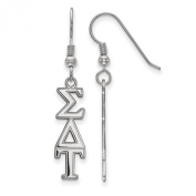 925 Sterling Silver Rhodium-plated Sigma Delta Tau Sorority Medium Dangle French-wire Earrings