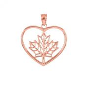 14k Rose Gold Filigree Canadian Maple Leaf Open Heart Charm Pendant