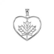 14k White Gold Filigree Canadian Maple Leaf Open Heart Charm Pendant