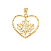 10k Yellow Gold Filigree Canadian Maple Leaf Open Heart Charm Pendant