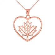 14k Rose Gold Filigree Canadian Maple Leaf Charm Open Heart Pendant Necklace