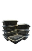 Microwavable Food Container with Lid Bento Box, Black, 10-Pack