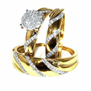 10K Yellow Gold Trio Rings Set His and Her Rings 1/3cttw Diamonds