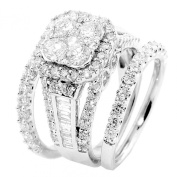 14K White Gold Wedding Ring 3cttw Diamonds 13.5mm Halo Engagement Ring With 2 Wedding Bands