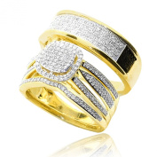 Trio Rings Set 2/3cttw Diamonds 10K Gold 3pc Mens and Womens