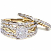 1/2CTTW Diamond Wedding Ring Set 10K Yellow Gold Wide 11.5mm Infinity Style Bridal Rings