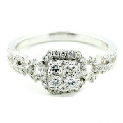 0.57CTTW Diamond Engagement Ring 14K White Gold Vintage Inspired 8mm Wide
