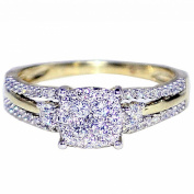 Diamond Engagement Ring Bridal 10K Gold 0.4cttw 7mm Wide