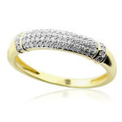 0.18cttw Diamond Anniversary Wedding Band 10K Yellow Gold Domed 4mm Wide
