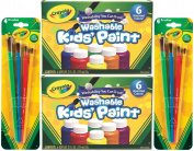 Crayola Washable Kids Paint, 6 Assorted Colours, 60ml Each (Pack of 2) Total 12 Bottles + Bonus 8 Crayola Paint Brushes
