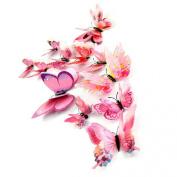 Kingfansion 12x 3D Butterfly Wall Sticker Fridge Magnet Room Decor Decal Applique Pink