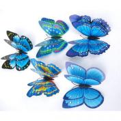 Kingfansion 12x 3D Butterfly Wall Sticker Fridge Magnet Room Decor Decal Applique Blue