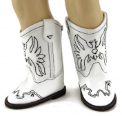 White Cowboy Boots made for 46cm Dolls such as American Girl Dolls